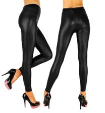 HIGH WAIST Faux Leather Look Matt Leggings Shiny Full Tight Anke Length*WetLg