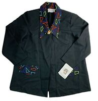 Dead stock Vintage Z80s Womens Large Black Blazer Jacket Stitched Abstract