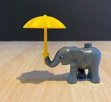 Lego Duplo Dark Gray Baby Elephant With Yellow Umbrella Circus Dumbo Zoo Animals