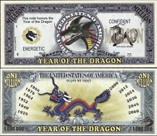 Year of the Dragon Million Dollar Bill Fake Funny Money Novelty Note FREE SLEEVE