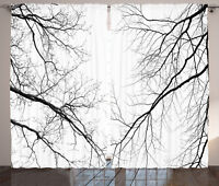 Forest Curtains Leafless Scary Branches Window Drapes 2 Panel Set 108x90 Inches