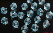 200pcs Aqua Blue Faceted Crystal Glass 5301# Bicone Spacer Beads 4mm DIY Finding