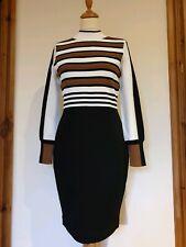 Karen Millen Knitted Stretch Fitted Bodycon Black Dress, Stripe Top, Size M £150