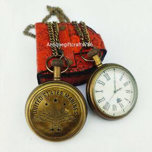 Antique Brass United States Marines Pocket Watch Vintage Nautical Clock Gift