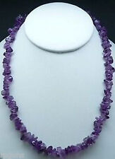 "NATURAL AMETHYST CRYSTAL CHIP NECKLACE BEAD 18"" Fashion Statement Healing Reiki"