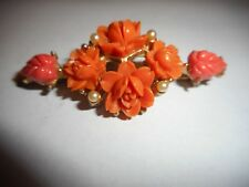 Vintage Art Deco Faux Coral & Pearl Brooch Pin Antique no reserve