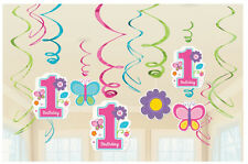 12 x 1st birthday PINK hanging swirls party decorations AGE 1 Hanging Decoration