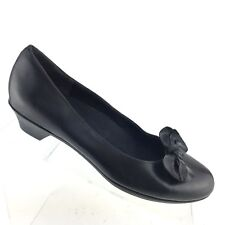 Munro MEG Black Leather Slip On Low Heel Bow Accent Pumps Womens Shoe SIZE 8 N