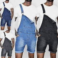 Mens Slim Fit Denim Short Pants Overalls Jeans Shorts Casual Suspenders Jumpsuit