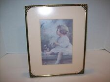 ZULA KENYON Song of the Bluebird Child Print Vintage Antique Brass Tone Framed