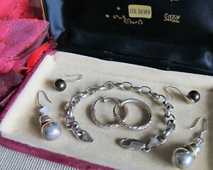 VTG BULK LOT STG Silver Hoop & Dangling Earrings Rolo Link Chain Bracelet