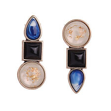 N087 Unique Eartha 3-Stone Stud Earrings Asymmetrical Antique Gold Women BiJoux