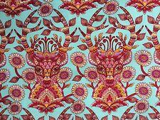 By 1/2 Yard Free Spirit Moon Shine Tula Pink Fabric Dear Me Strawberry deer aqua