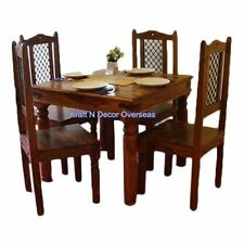 KraftNDecor Ethnic Wooden Dining Table with 4 Chair Set in Brown Colour