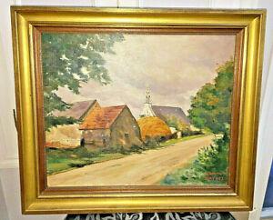 """TABLEAU HUILE SUR TOILE """" chapelle de la madeleine Penmarch Signé Edmond Daynes"""