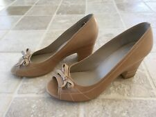 "WOMENS WITTNER ""BAMBOO"" PEEP TOE WORKWEAR SHOES SIZE 38, TAN, LEATHER #1397"