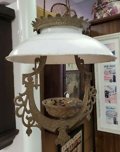 Antique Victorian Cast Iron Horse Hanging Oil Lamp Frame Bradley Hubbard