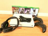 Microsoft Xbox One S 1TB Console Bundle w/ Headset, 2 Controllers and 4 Games