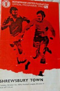 Rotherham United v Shrewsbury, October 1st,1974, Football League Division 4