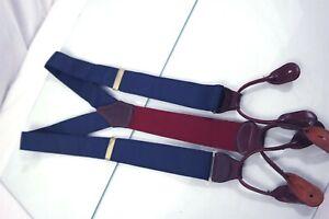 Paul Stuart USA Blue Mens Luxury Leather Fitting Adjustable Suspenders Braces