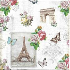Lot de 2 Serviettes en papier Paris Monuments Decoupage Collage Decopatch