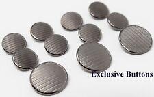 Silver Metal Blazer Buttons Set - Stripes