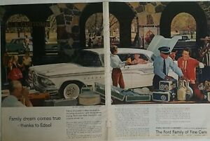 1959 Ford family Fine Cars white Edsel two 2 page original car vintage ad