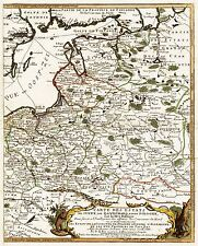 MAP ANTIQUE 1700 DE FER SWEDISH POLAND LIVONIA LARGE REPRO POSTER PRINT PAM0178