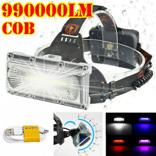 990000LM COB LED Lampe Frontale Rechargeable Phare Lampe de Poche Torche Lampe