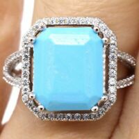 Vintage Natural Turquoise Ring Women Jewelry Solid 925 Sterling Silver Sizable
