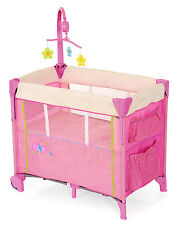 NEW HAUCK BUTTERFLY PINK DREAM N CARE BASSINETTE BABY TRAVEL COT WITH DROPSIDE