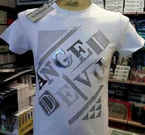 T-shirt maglia uomo Angel Devil girocollo con stampa logo argentata art TU79