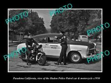 OLD LARGE HISTORIC PHOTO OF PASADENA CALIFORNIA, THE HUDSON POLICE CAR c1950