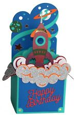 3D Rocket Ship Birthday Card Hand Made With Envelope
