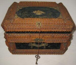 Old Antique Victorian Carved Pyramid Wood Felt Tramp Art Box w/ Brass Trim & Key