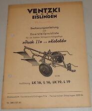 Betriebsanleitung Ventzki leichte Schlepperanhängepflüge Puck II Kobald, 08/1955