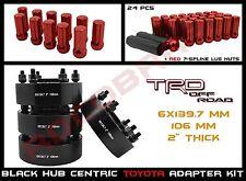 "4 Pc Toyota 2"" Hub Centric Wheel Spacers + 24 Pc 12x1.5 Red Spline Lug Nuts Kit"