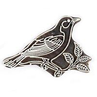 Uccello Decorativo Marrone Blocco Indiano IN Legno Tessuto Timbri Stampa 15.2cm