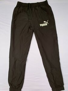 Men's Puma Tracksuit Bottoms Training Track Pants Joggers Black Size UK L New