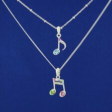 W Swarovski Crystal 2 Music Notes Multi Color Double Chain Pendant Jewelry Gift