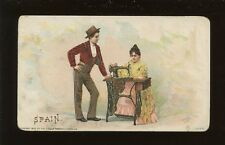 Spain Social History SEWING Singer ADVERT chromo litho card c1900s? fault