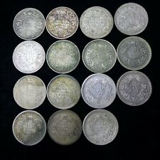 Lot of (15) INDIA BRITISH 1940 - 1945 1 RUPEE SILVER COINS