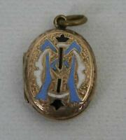 (ref165BI) Very Nice Antique Back and Front 9ct Gold and Enamel Locket