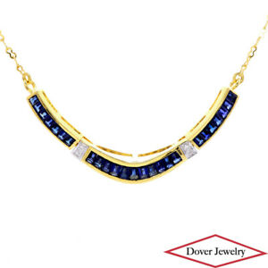 Diamond 2.74ct Sapphire 18K Gold Pendant Chain Necklace 6.1 Grams NR