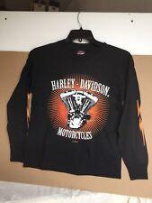 "Harley-davidson Boy's Black Long Sleeve ""lightning"" Shirt  Medium 10-12"
