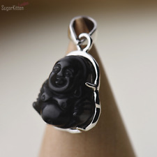 Genuine 925 Sterling Silver Obsidian Black Gemstone Yoga Buddha Necklace Pendant
