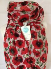 POPPY FIELD BLOOM RED & WHITE SOFT QUIRKY FLOWER SCARF SHAWL WRAP GIFT POPPIES