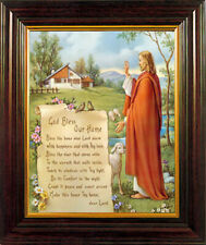 More details for house blessing god bless our home gold trim wooden picture framed print new