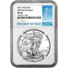2017 Silver American Eagle MS70 FDI NGC 1st Label