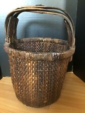 Antique/Vintage Chinese Rice Gathering Woven Willow Basket